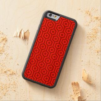 Modelo geométrico hexagonal rojo brillante retro funda de iPhone 6 bumper cerezo