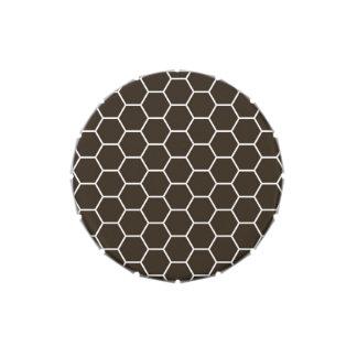 Modelo geométrico marrón del hexágono jarrones de caramelos