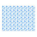 Modelo geométrico moderno blanco y azul tarjetas postales