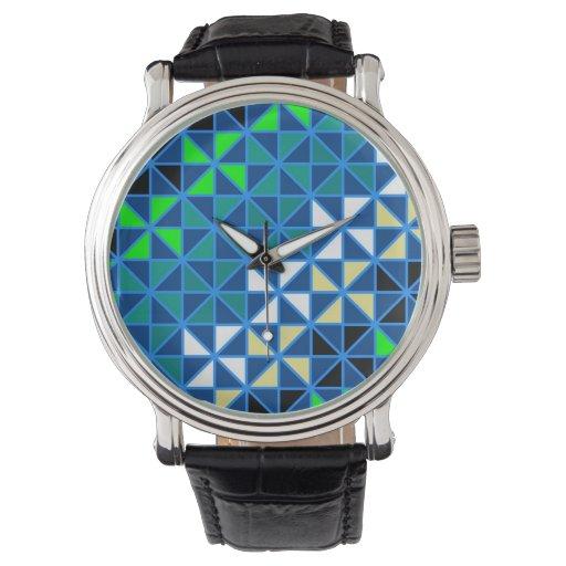Modelo geométrico moderno enrrollado colorido reloj de mano