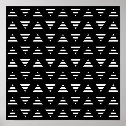 Modelo geométrico monocromático. Triángulos de la  Poster