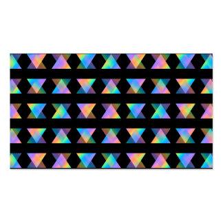 Modelo geométrico multicolor en negro tarjetas de visita