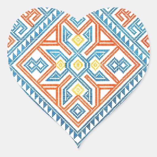 Modelo geométrico nativo 2 pegatina en forma de corazón