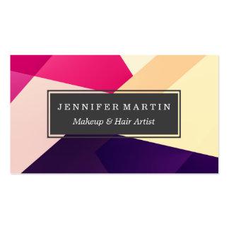 Modelo geométrico negro amarillo rosado moderno tarjetas de visita