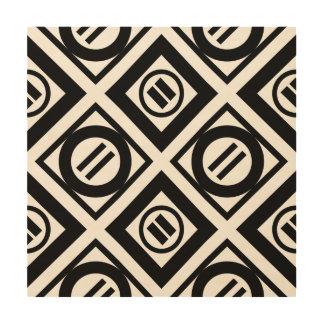 Modelo geométrico negro del signo de igualdad en impresión en madera