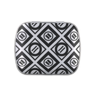 Modelo geométrico negro del signo de igualdad en latas de caramelos