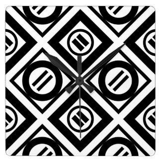Modelo geométrico negro del signo de igualdad en reloj cuadrado