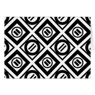 Modelo geométrico negro del signo de igualdad en tarjeta de felicitación