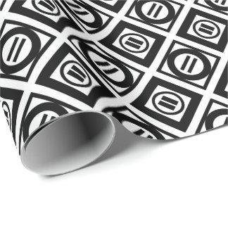 Modelo geométrico negro elegante en blanco papel de regalo
