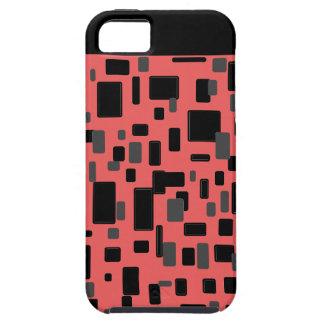 Modelo geométrico negro gris coralino iPhone 5 carcasas