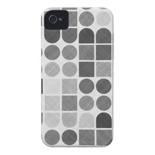 Modelo geométrico negro y blanco retro iPhone 4 Case-Mate cárcasa