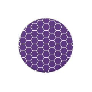 Modelo geométrico púrpura brillante del hexágono d jarrones de caramelos