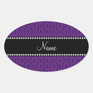 Modelo geométrico púrpura personalizado de los dia pegatina ovaladas personalizadas