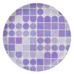 Modelo geométrico púrpura retro platos para fiestas