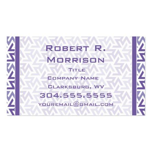 Modelo geométrico púrpura y blanco tarjetas de visita