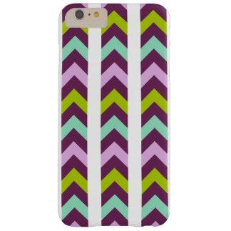 Modelo geométrico púrpura y verde de Chevron Funda Para iPhone 6 Plus Barely There
