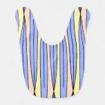 Modelo geométrico retro en amarillo, azul y babero para bebé