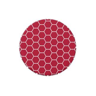 Modelo geométrico rojo brillante del hexágono del jarrones de dulces