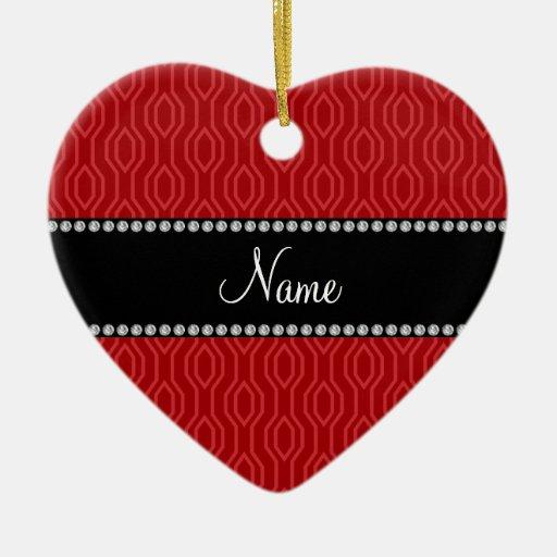Modelo geométrico rojo conocido personalizado del adorno de cerámica en forma de corazón