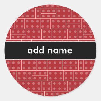 Modelo geométrico rojo del bloque hueco etiquetas redondas