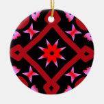 Modelo geométrico rojo del caleidoscopio de Starbu Ornamentos De Navidad