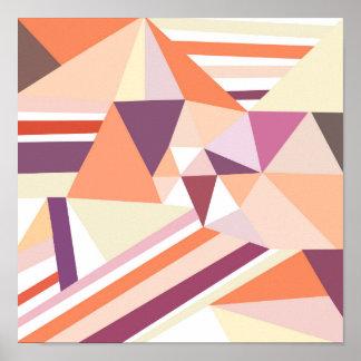 Modelo geométrico rosado coralino abstracto póster