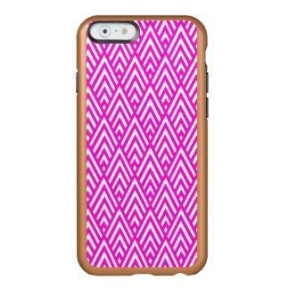 Modelo geométrico rosado del rosa de la hoja de funda para iPhone 6 plus incipio feather shine