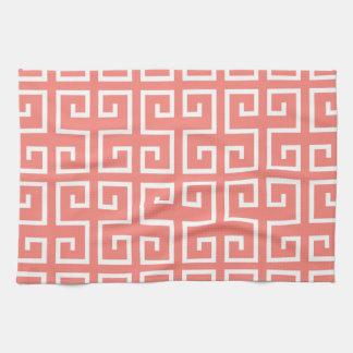 Modelo geométrico rosado y blanco coralino toallas