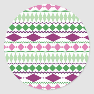 Modelo geométrico tribal verde púrpura pegatina redonda