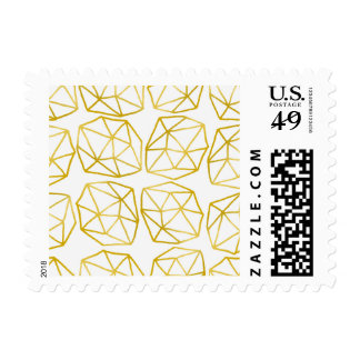 Modelo geométrico único poligonal del oro elegante sellos postales