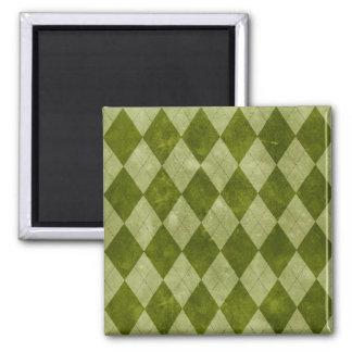 Modelo geométrico verde cubierto de musgo clásico imán para frigorifico