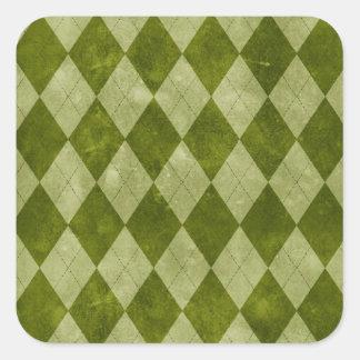 Modelo geométrico verde cubierto de musgo clásico pegatina cuadrada