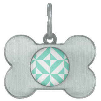Modelo geométrico verde del cubo de Seafoam Deco Placa De Nombre De Mascota