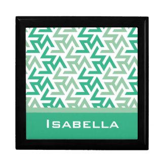Modelo geométrico verde y blanco caja de recuerdo