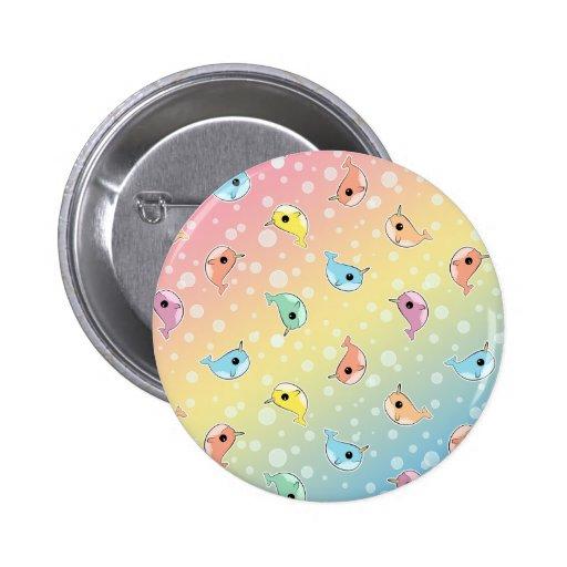 Modelo gordo de Narwhal del arco iris Pin Redondo 5 Cm
