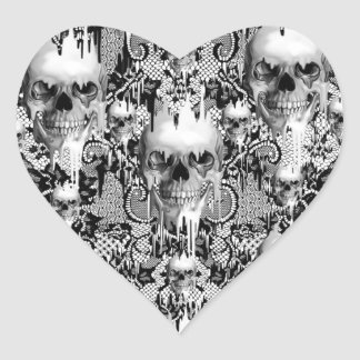 Modelo gótico del cráneo del cordón del Victorian Calcomania Corazon Personalizadas