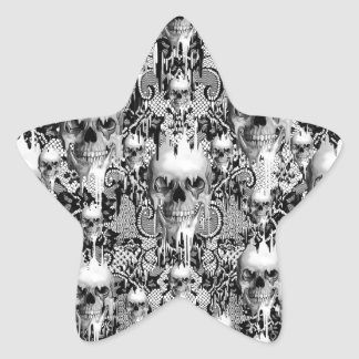 Modelo gótico del cráneo del cordón del Victorian Calcomanías Forma De Estrellas