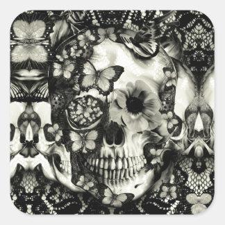 Modelo gótico del cráneo del cordón del Victorian Colcomanias Cuadradas