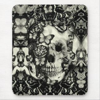 Modelo gótico del cráneo del cordón del Victorian Tapete De Raton