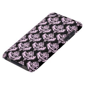 Modelo gótico del damasco del rosa y del negro iPod touch Case-Mate cobertura