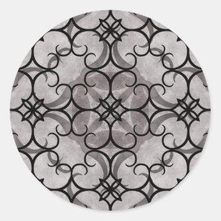 Modelo gótico del victorian magnífico gris y negro pegatina redonda