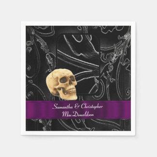 Modelo gótico negro del damasco del boda del servilletas de papel