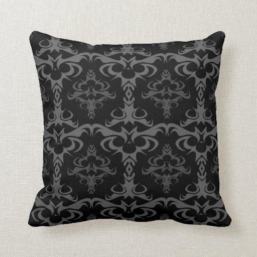 Modelo gótico oscuro del damasco almohadas
