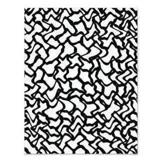 Modelo gráfico abstracto blanco y negro. invitación 10,8 x 13,9 cm