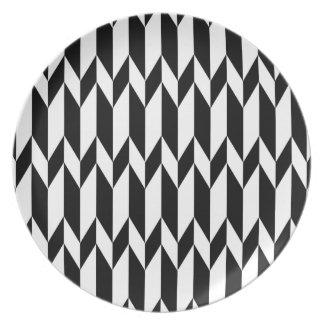 Modelo gráfico abstracto blanco y negro platos para fiestas