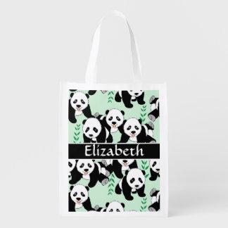 Modelo gráfico de los osos de panda a personalizar bolsas reutilizables