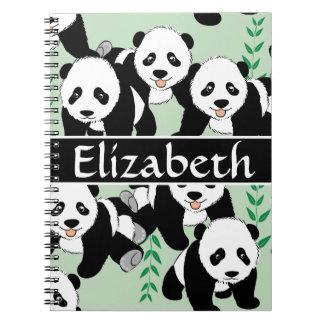 Modelo gráfico de los osos de panda a personalizar spiral notebook