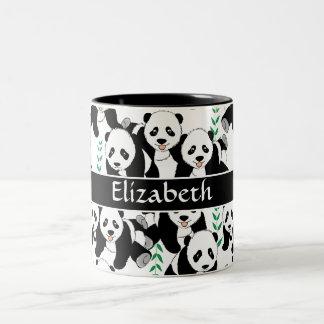 Modelo gráfico de los osos de panda a personalizar taza de café de dos colores