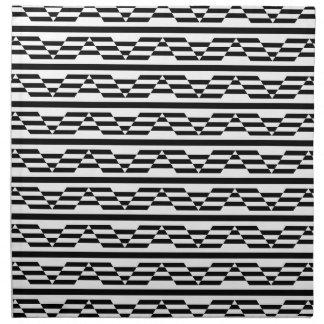 Modelo gráfico geométrico blanco y negro servilleta imprimida