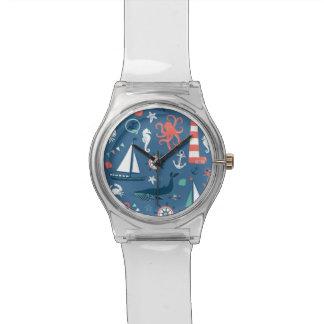 Modelo gráfico náutico de la diversión relojes de pulsera